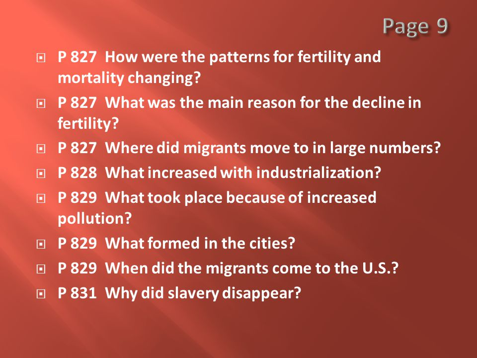  P 827 How were the patterns for fertility and mortality changing.