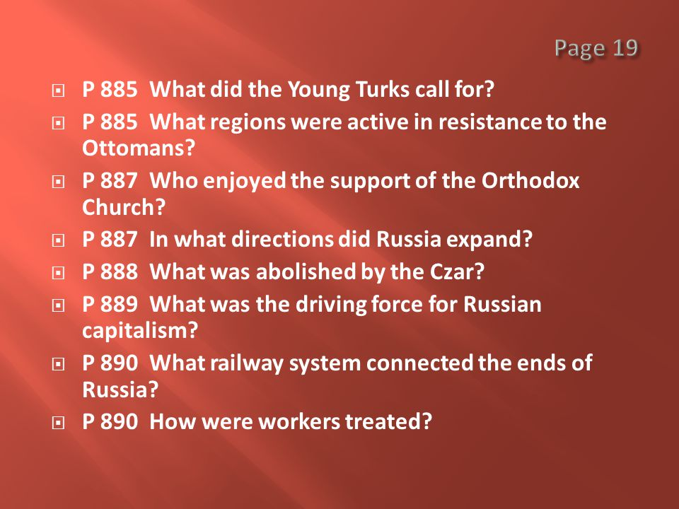  P 885 What did the Young Turks call for.