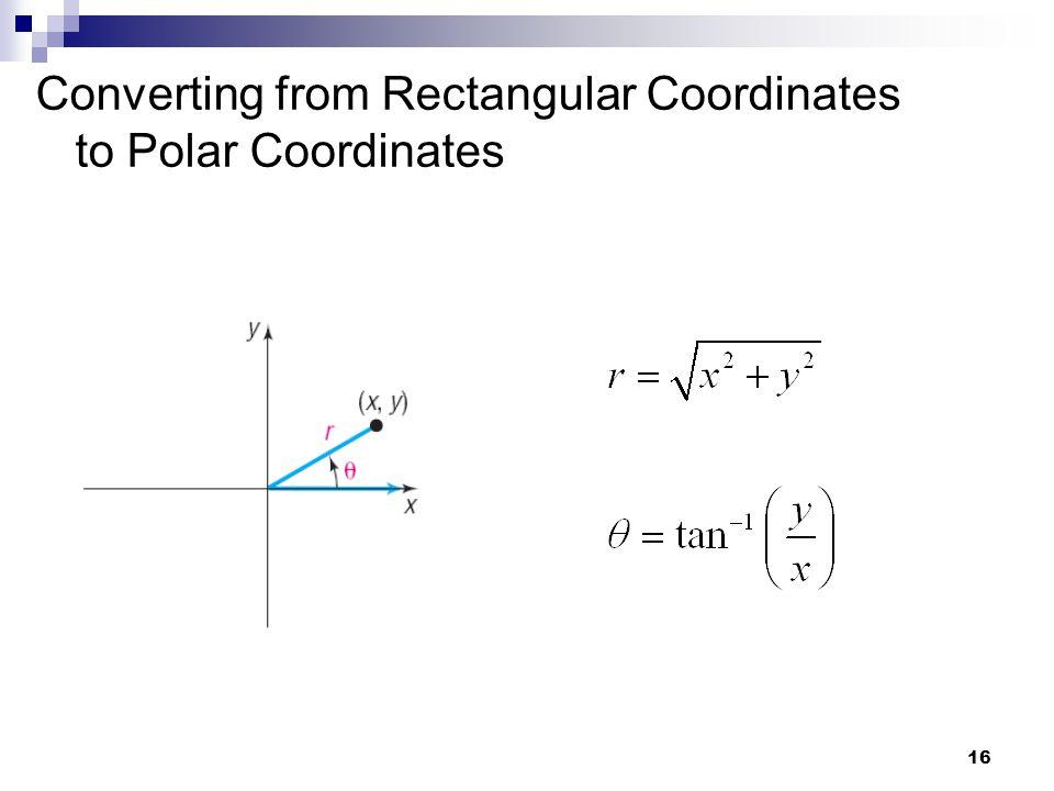 16 Converting from Rectangular Coordinates to Polar Coordinates