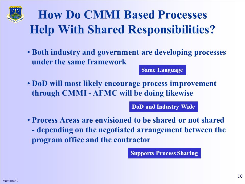 Version 2.2 10 How Do CMMI Based Processes Help With Shared Responsibilities.