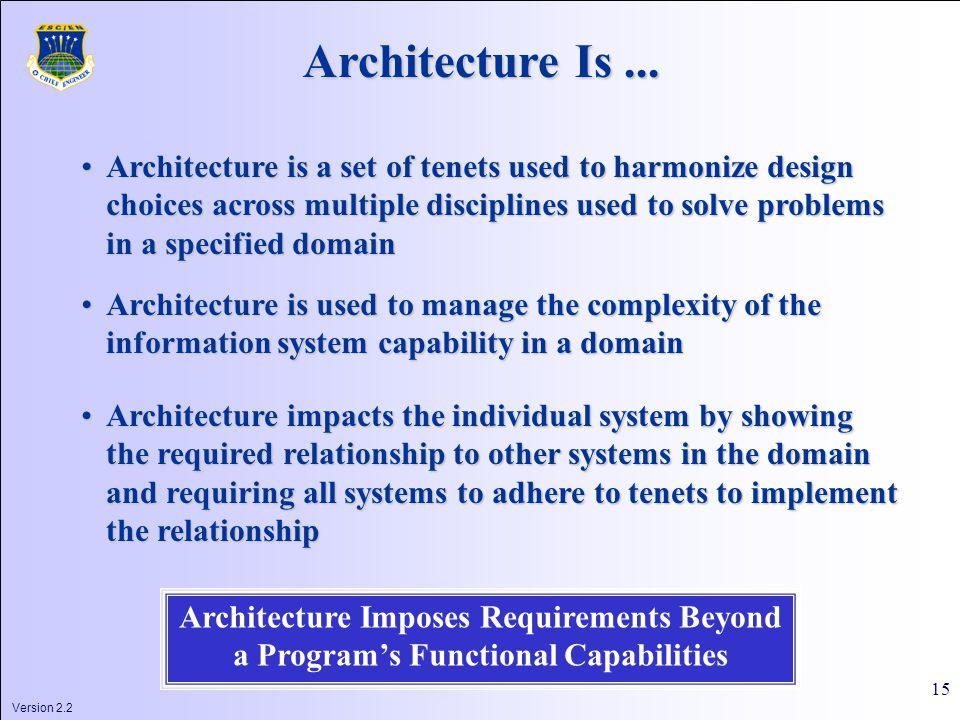 Version 2.2 15 Architecture Is...