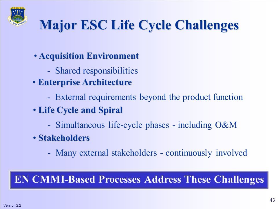 Version 2.2 43 Major ESC Life Cycle Challenges Acquisition Environment Acquisition Environment - Shared responsibilities Enterprise Architecture Enterprise Architecture - External requirements beyond the product function Life Cycle and Spiral Life Cycle and Spiral - Simultaneous life-cycle phases - including O&M Stakeholders Stakeholders - Many external stakeholders - continuously involved EN CMMI-Based Processes Address These Challenges