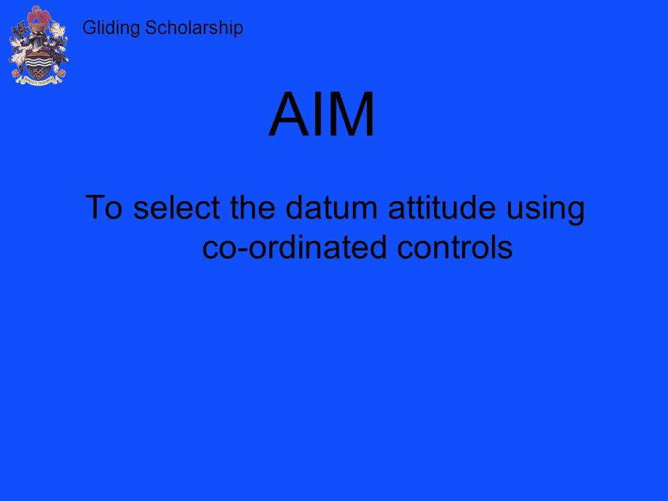 Gliding Scholarship To select the datum attitude using co-ordinated controls AIM