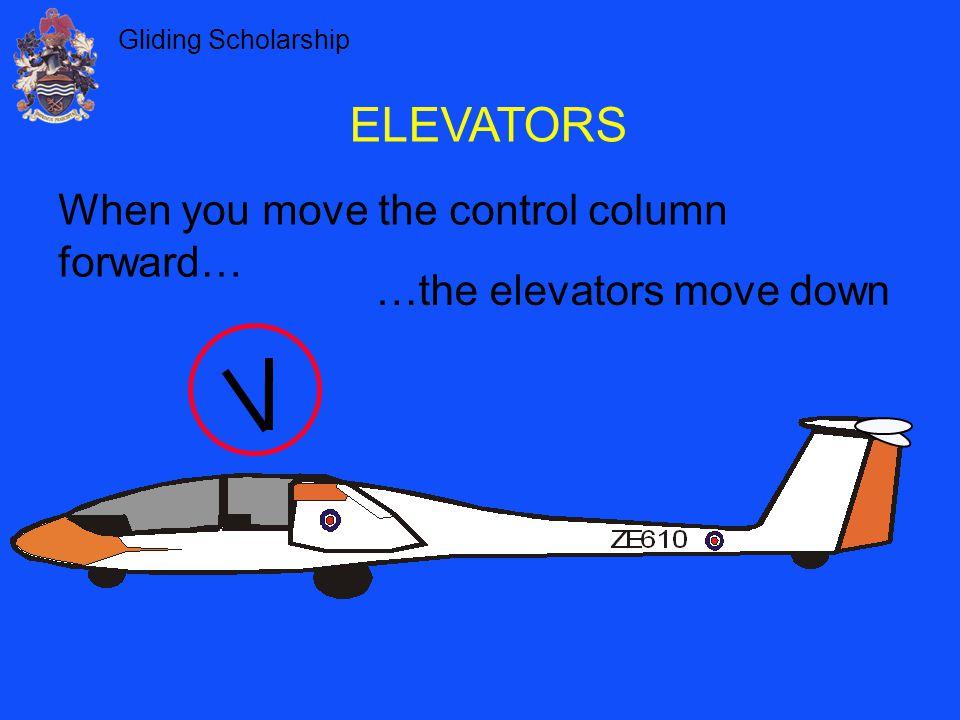 Gliding Scholarship …the elevators move down ELEVATORS When you move the control column forward…