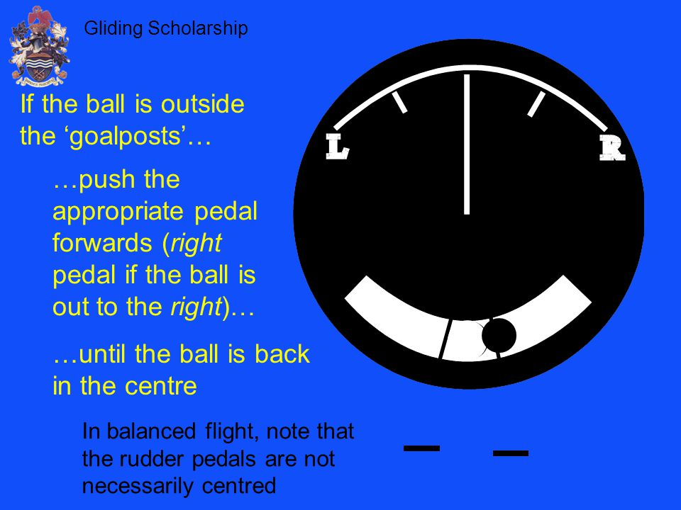 Gliding Scholarship If the ball is outside the 'goalposts'… …push the appropriate pedal forwards (right pedal if the ball is out to the right)… …until