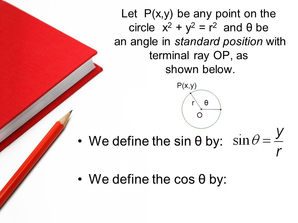 Let P(x,y) be any point on the circle x 2 + y 2 = r 2 and θ be an angle in standard position with terminal ray OP, as shown below.