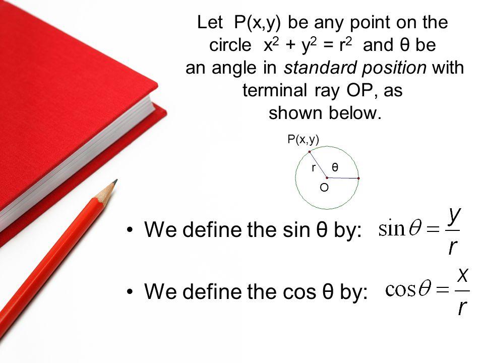Let P(x,y) be any point on the circle x 2 + y 2 = r 2 and θ be an angle in standard position with terminal ray OP, as shown below. We define the sin θ