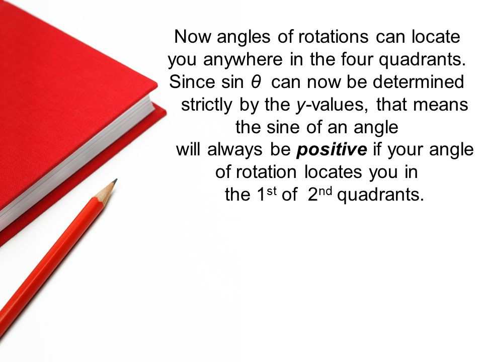 Now angles of rotations can locate you anywhere in the four quadrants.
