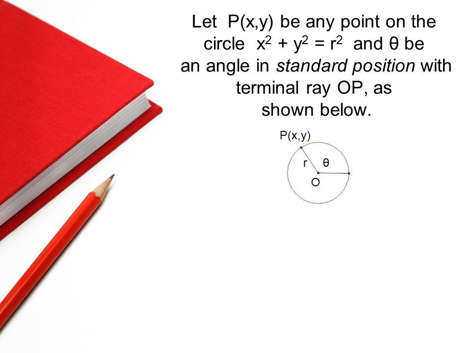 Let P(x,y) be any point on the circle x 2 + y 2 = r 2 and θ be an angle in standard position with terminal ray OP, as shown below. P(x,y) rθ O