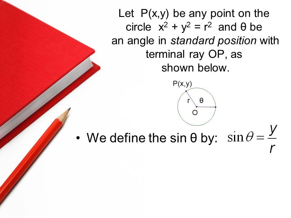 Let P(x,y) be any point on the circle x 2 + y 2 = r 2 and θ be an angle in standard position with terminal ray OP, as shown below.