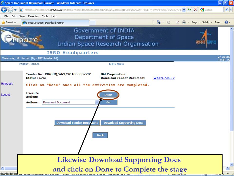 Likewise Download Supporting Docs and click on Done to Complete the stage