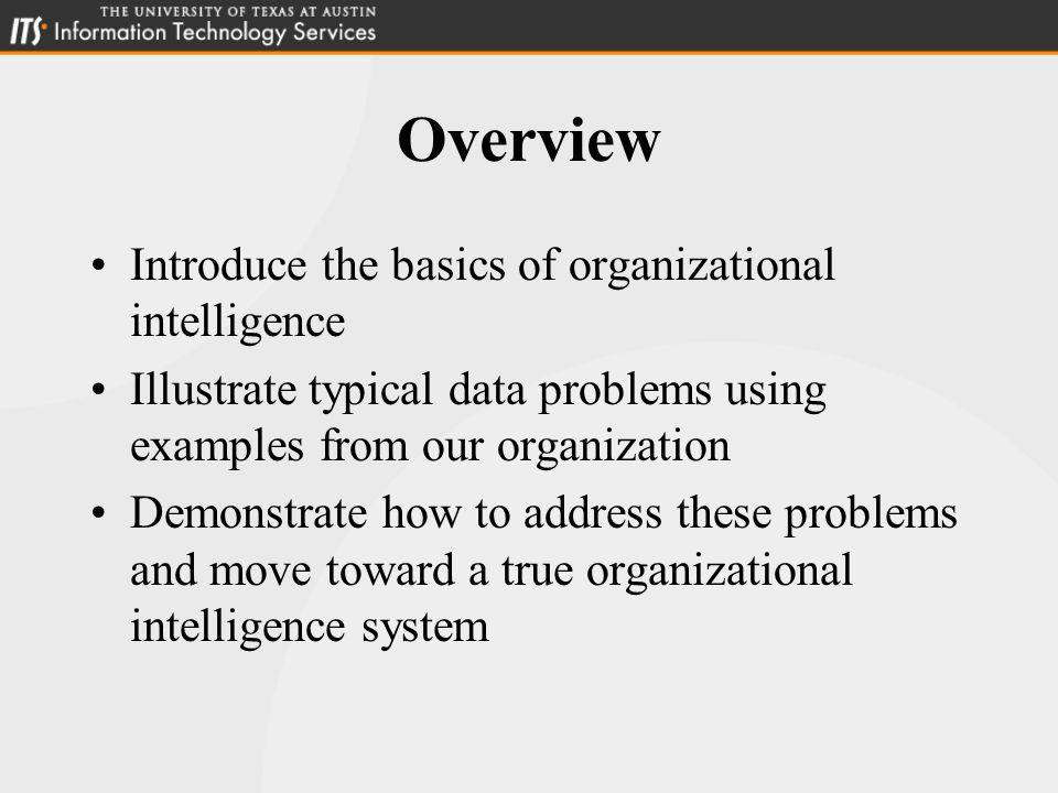 Overview of the Issues 1.Centralized Data Management Solutions Appropriate to the Problem Consolidation and Remedy 2.Clear Policy Framework Balancing Data Responsibility Examples: SYSMODs and Assets 3.Data Exploration and Reporting Advantage of Infrastructure Why Flexibility is Important