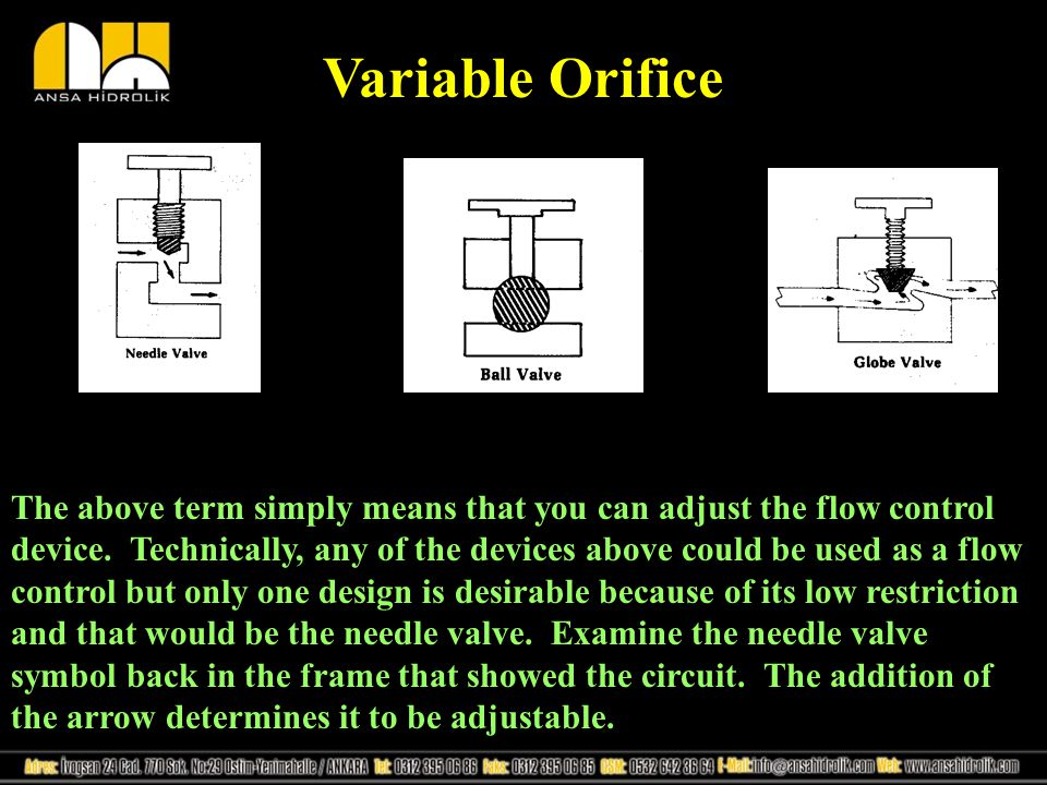 Variable Orifice The above term simply means that you can adjust the flow control device. Technically, any of the devices above could be used as a flo