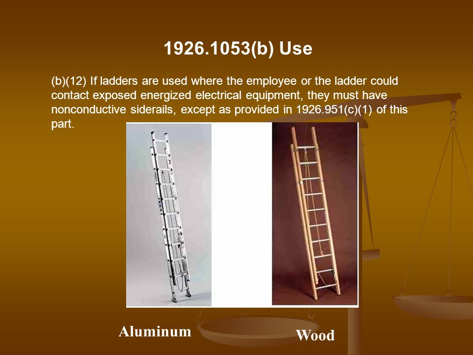 (b)(12) If ladders are used where the employee or the ladder could contact exposed energized electrical equipment, they must have nonconductive sidera