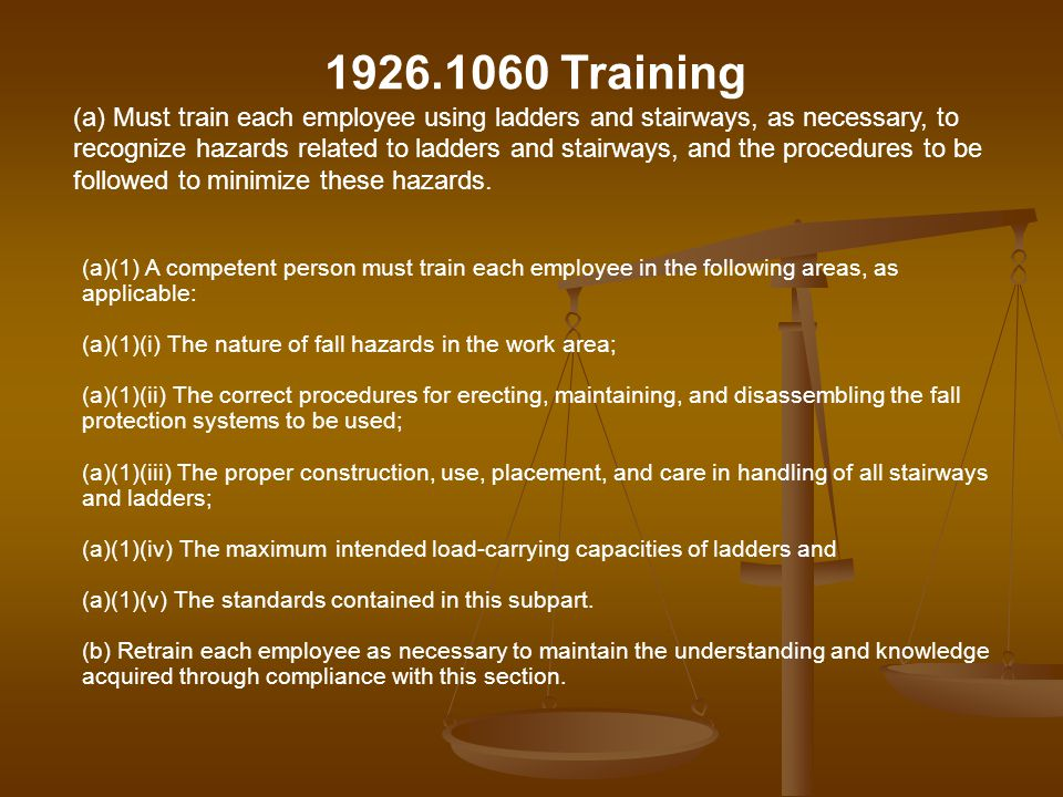(a)(1) A competent person must train each employee in the following areas, as applicable: (a)(1)(i) The nature of fall hazards in the work area; (a)(1