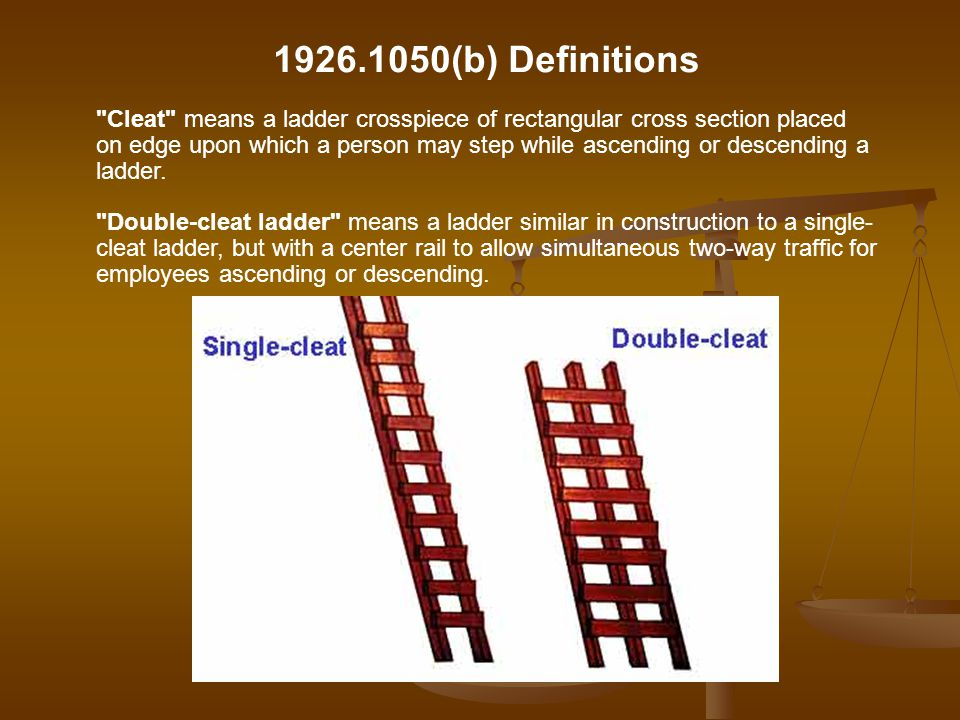 1926.1050(b) Definitions Extension trestle ladder means a self-supporting portable ladder, adjustable in length consisting of a trestle ladder base and a vertically adjustable extension section, with a suitable means for locking the ladders together.