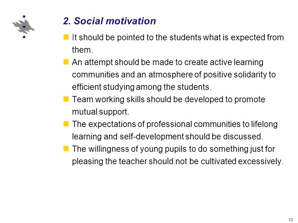 13 2. Social motivation It should be pointed to the students what is expected from them.