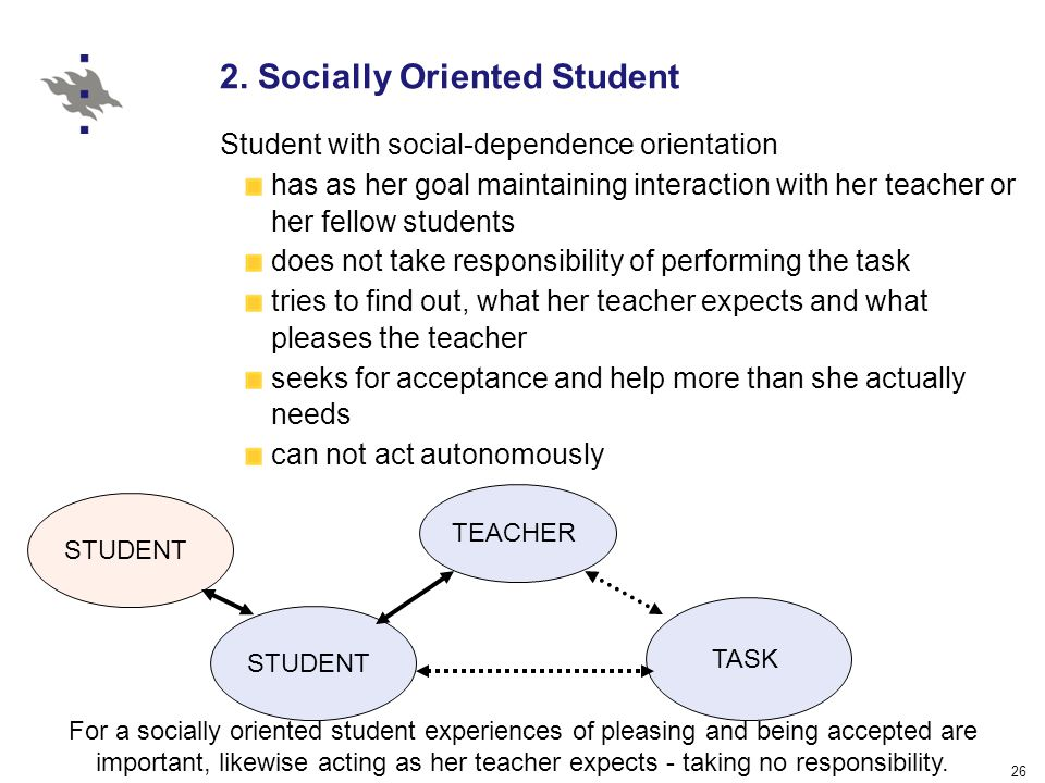 26 2. Socially Oriented Student Student with social-dependence orientation has as her goal maintaining interaction with her teacher or her fellow stud