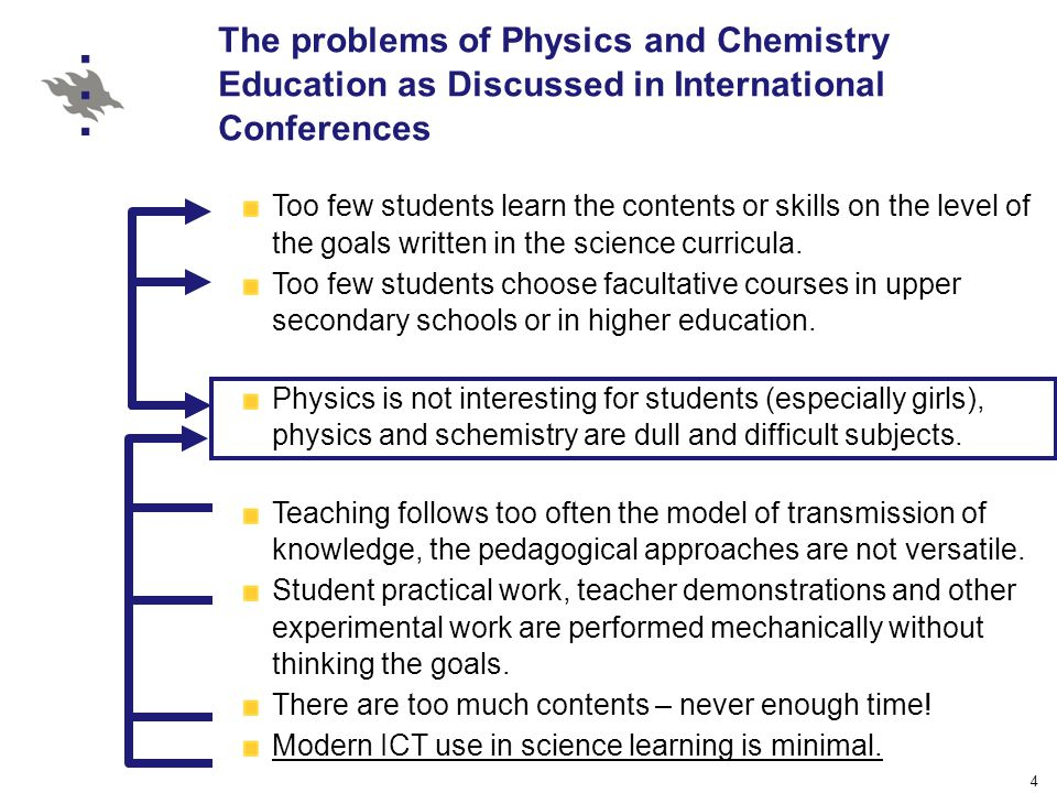 4 The problems of Physics and Chemistry Education as Discussed in International Conferences Too few students learn the contents or skills on the level of the goals written in the science curricula.