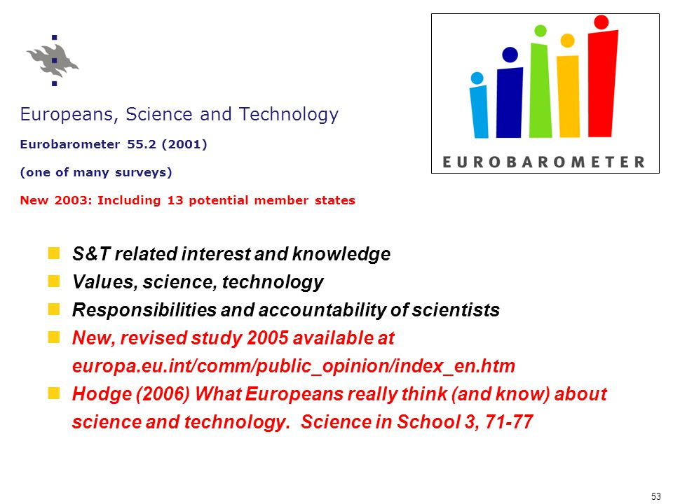 53 Europeans, Science and Technology Eurobarometer 55.2 (2001) (one of many surveys) New 2003: Including 13 potential member states S&T related interest and knowledge Values, science, technology Responsibilities and accountability of scientists New, revised study 2005 available at europa.eu.int/comm/public_opinion/index_en.htm Hodge (2006) What Europeans really think (and know) about science and technology.