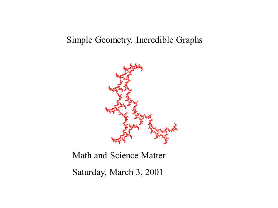 Simple Geometry, Incredible Graphs Math and Science Matter Saturday, March 3, 2001