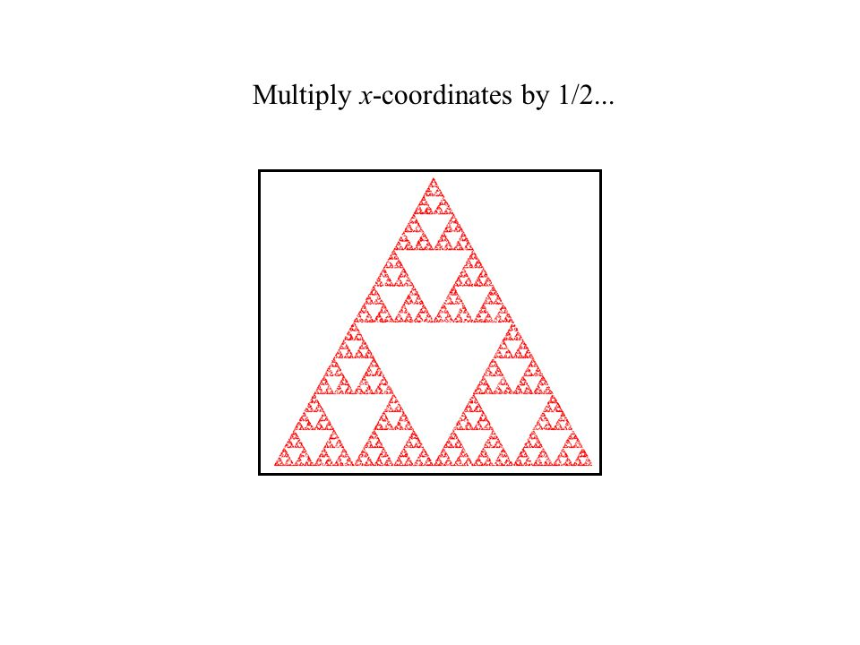 The first one is easy: we need to shrink the entire triangle down onto the lower-left corner.
