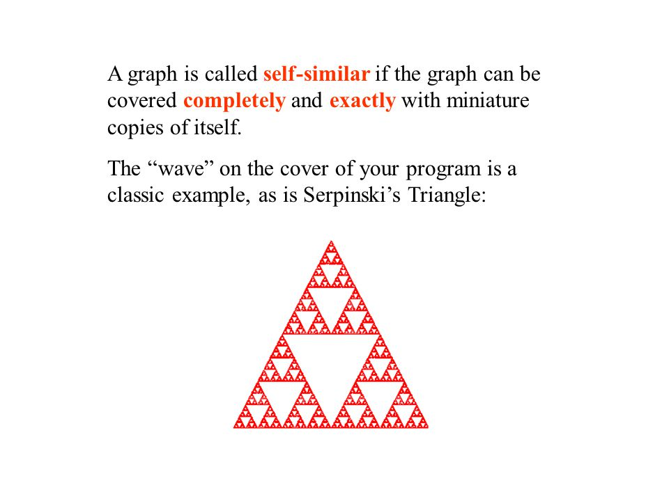 A graph is called self-similar if the graph can be covered completely and exactly with miniature copies of itself.