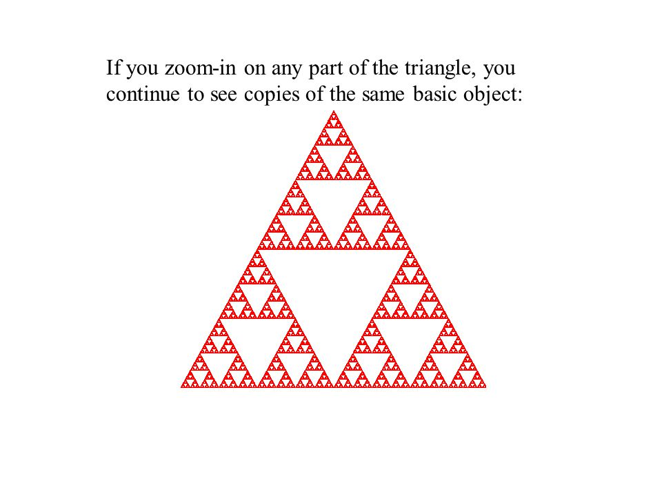 If you zoom-in on any part of the triangle, you continue to see copies of the same basic object: