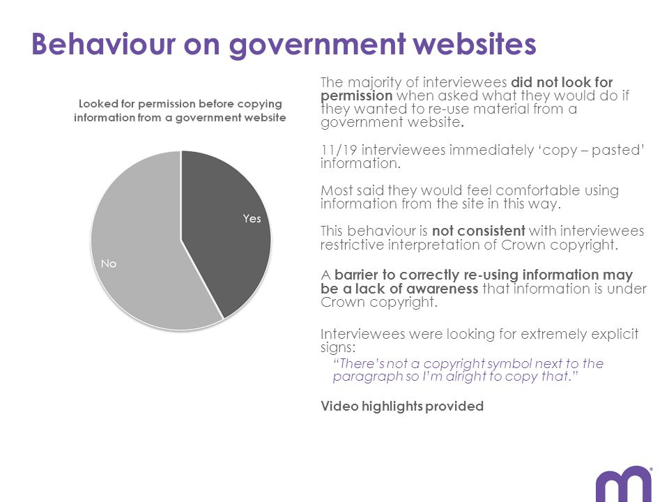 Behaviour on government websites The majority of interviewees did not look for permission when asked what they would do if they wanted to re-use material from a government website.