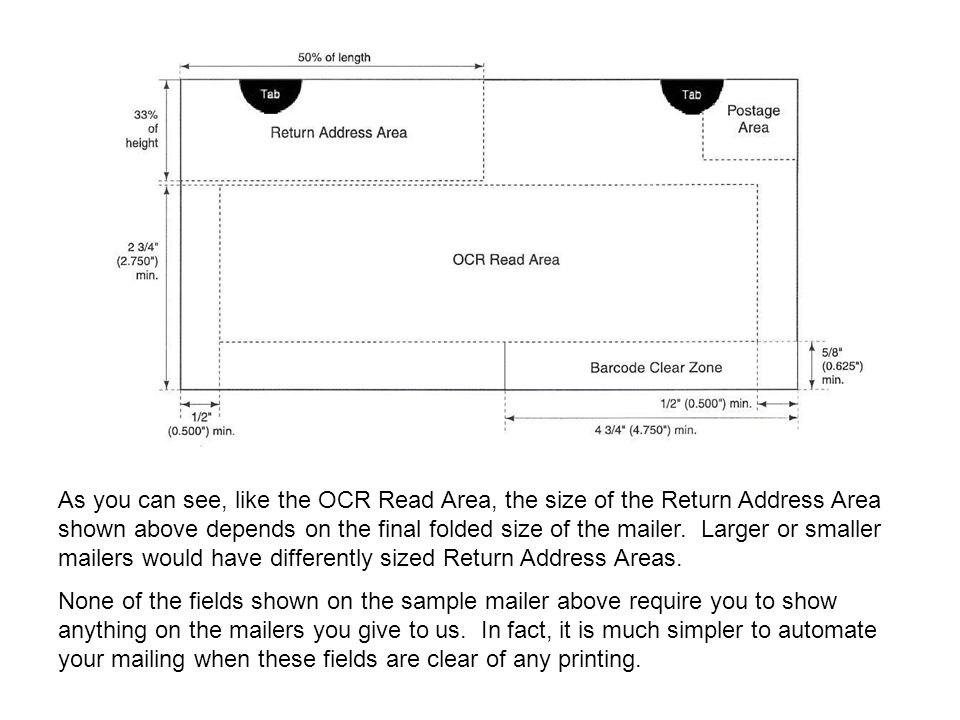 As you can see, like the OCR Read Area, the size of the Return Address Area shown above depends on the final folded size of the mailer.