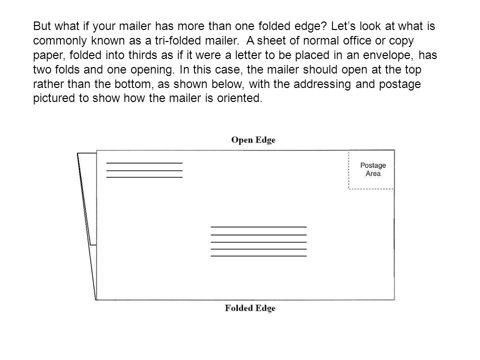 Another example illustrates which edge should have the final fold if the mailer has more than one folded edge.