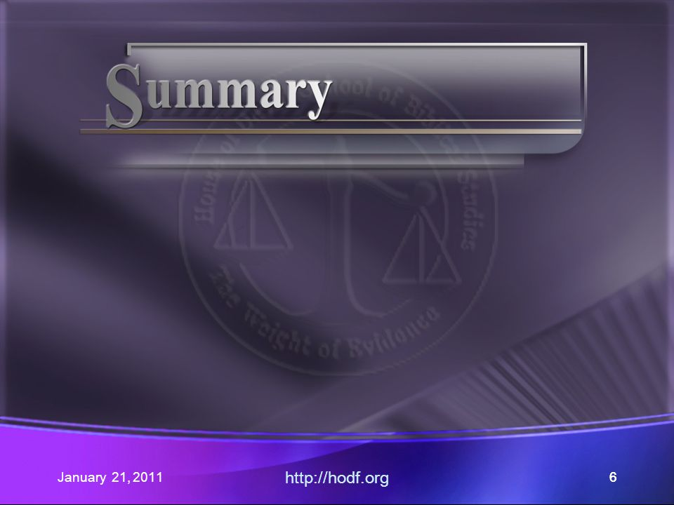 January 21, 2011 http://hodf.org 26 Establishing a Baseline Reasons the Sabbath were given.