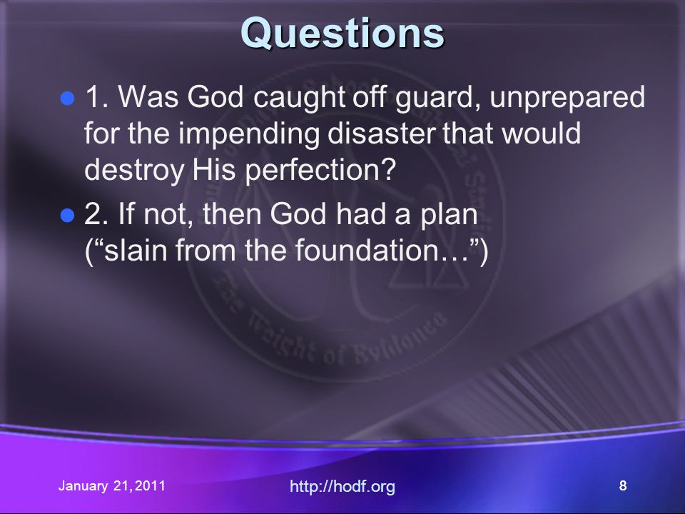 January 21, 2011 http://hodf.org 28 Who is the Sabbath for.
