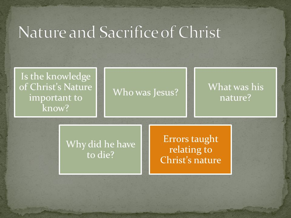 Is the knowledge of Christ's Nature important to know.
