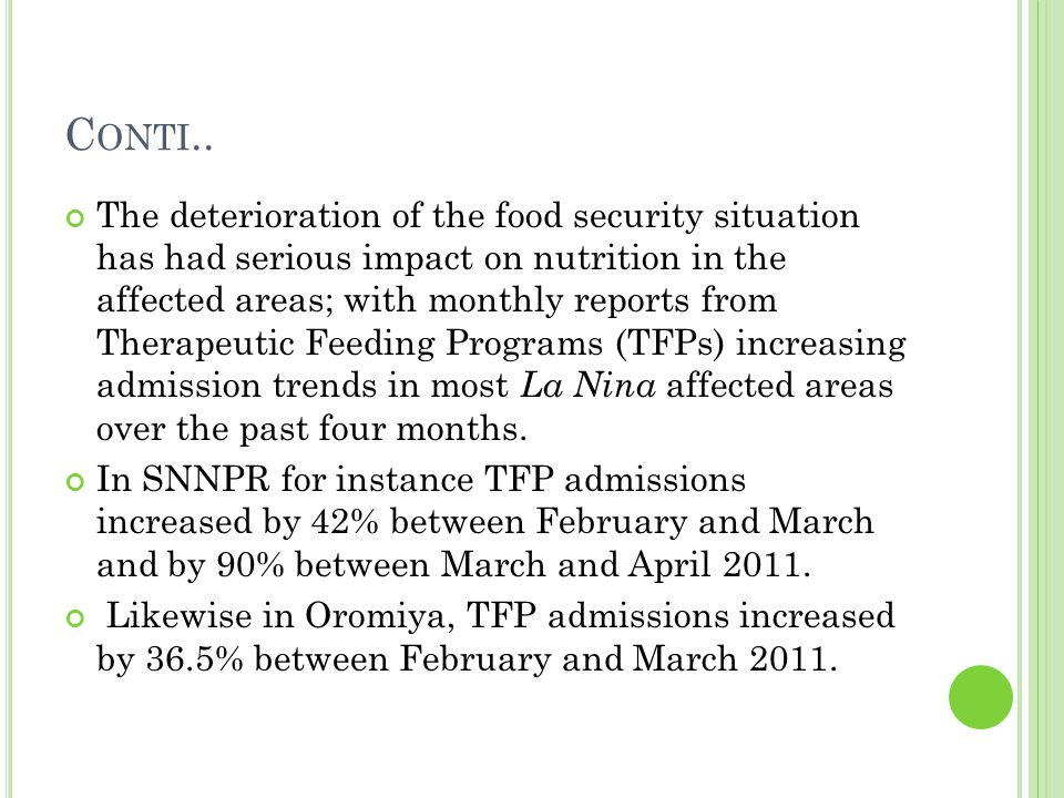 C ONTI.. The deterioration of the food security situation has had serious impact on nutrition in the affected areas; with monthly reports from Therape
