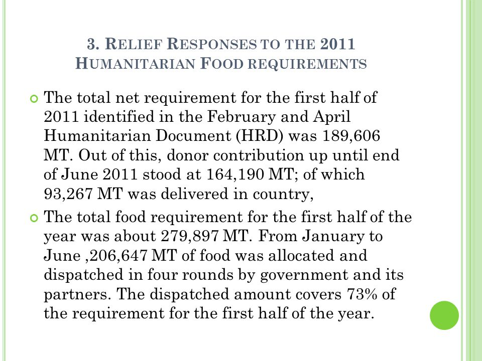 3. R ELIEF R ESPONSES TO THE 2011 H UMANITARIAN F OOD REQUIREMENTS The total net requirement for the first half of 2011 identified in the February and