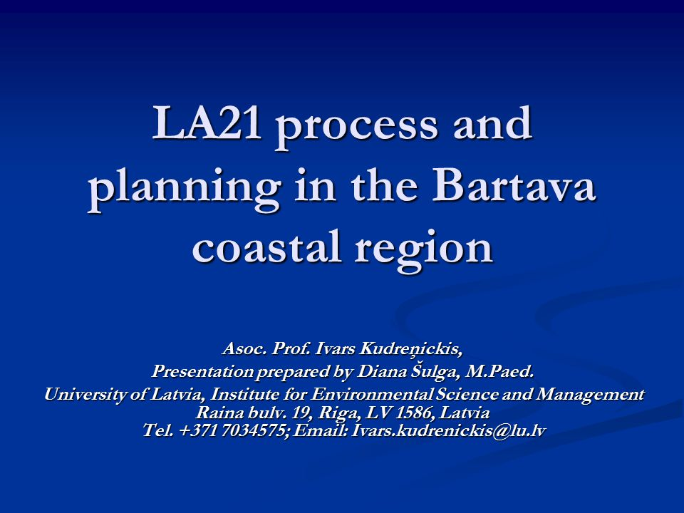 LA21 process and planning in the Bartava coastal region Asoc.