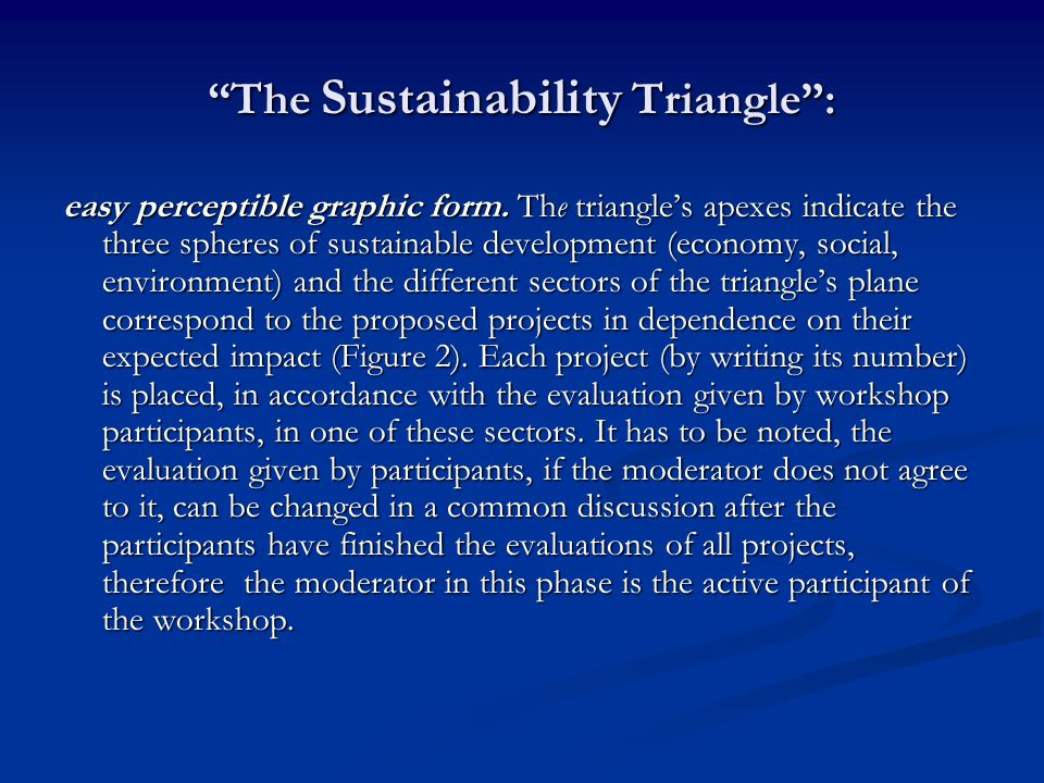 The Sustainability Triangle : easy perceptible graphic form.