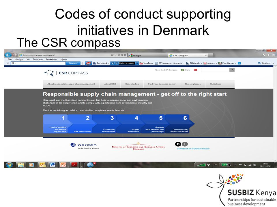 Codes of conduct supporting initiatives in Denmark The CSR compass