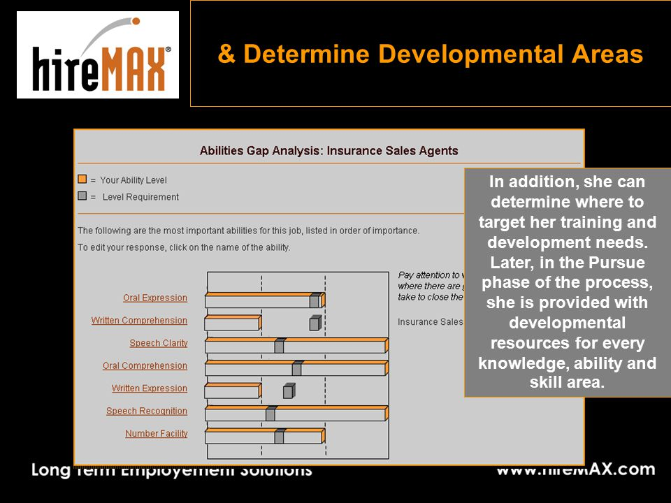 & Determine Developmental Areas In addition, she can determine where to target her training and development needs.