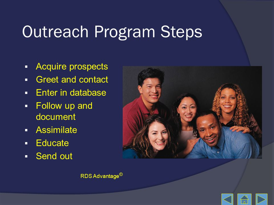 Outreach Program Steps  Acquire prospects  Greet and contact  Enter in database  Follow up and document  Assimilate  Educate  Send out RDS Advantage ©