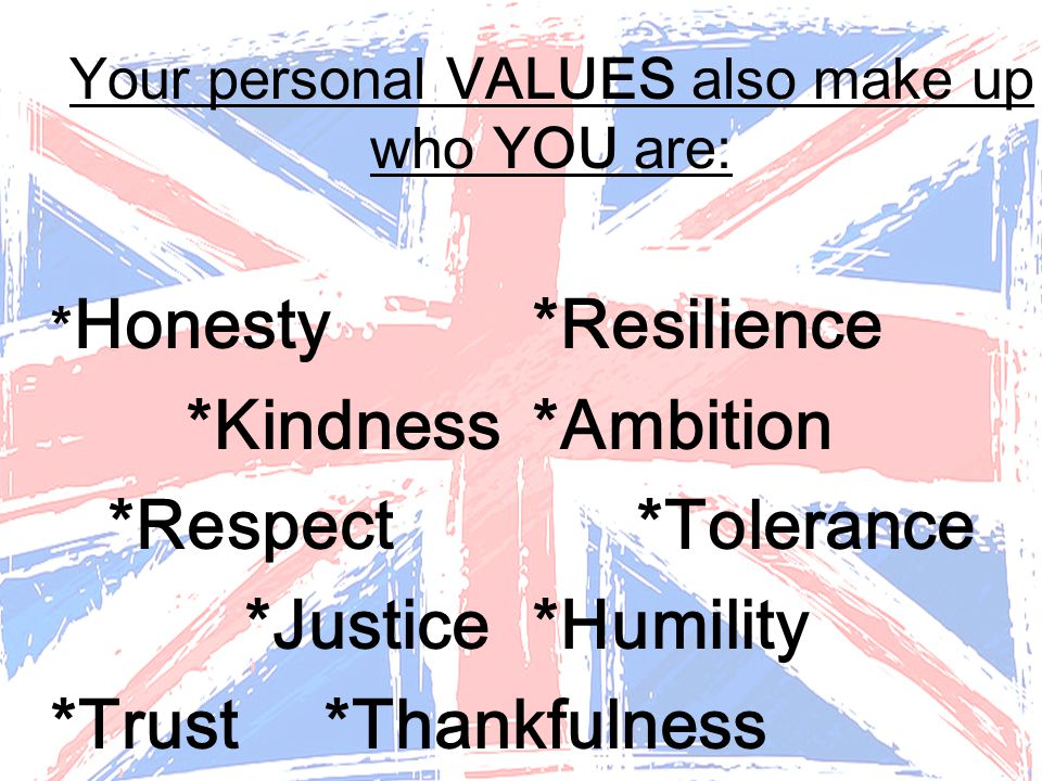 Your personal VALUES also make up who YOU are: * Honesty *Resilience *Kindness*Ambition *Respect*Tolerance *Justice*Humility *Trust*Thankfulness