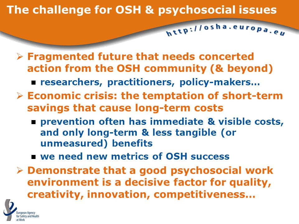 The challenge for OSH & psychosocial issues  Fragmented future that needs concerted action from the OSH community (& beyond) researchers, practitioners, policy-makers…  Economic crisis: the temptation of short-term savings that cause long-term costs prevention often has immediate & visible costs, and only long-term & less tangible (or unmeasured) benefits we need new metrics of OSH success  Demonstrate that a good psychosocial work environment is a decisive factor for quality, creativity, innovation, competitiveness…