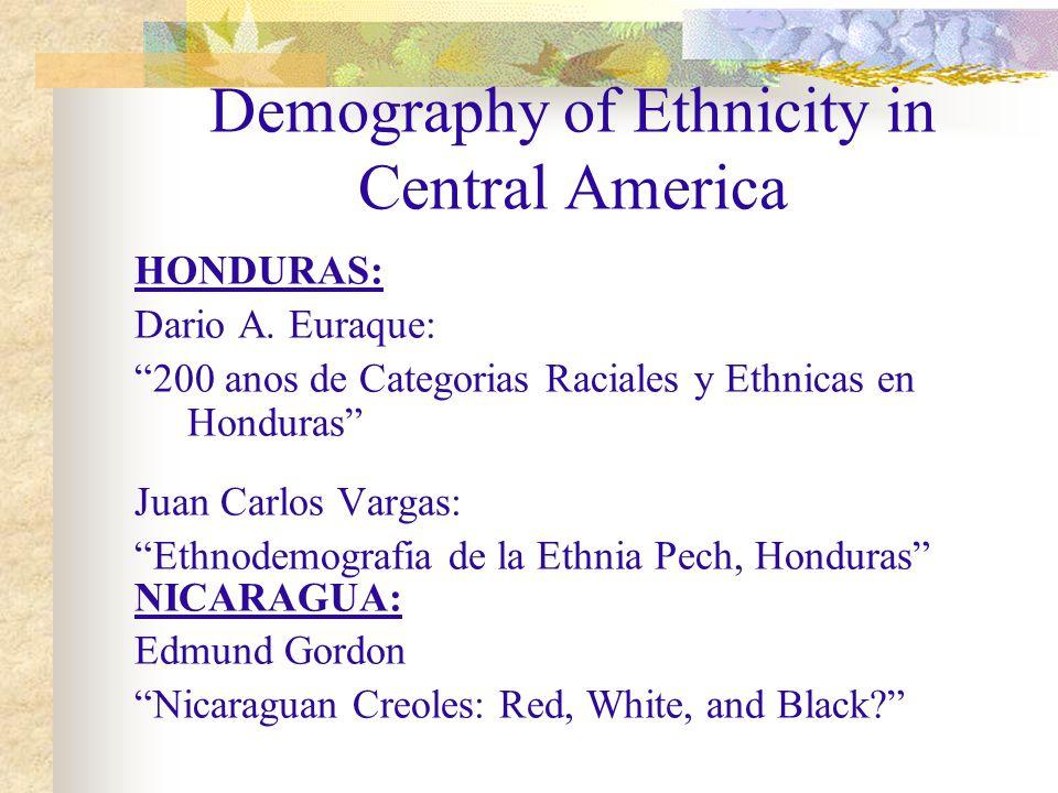 Demography of Ethnicity in Central America HONDURAS: Dario A.