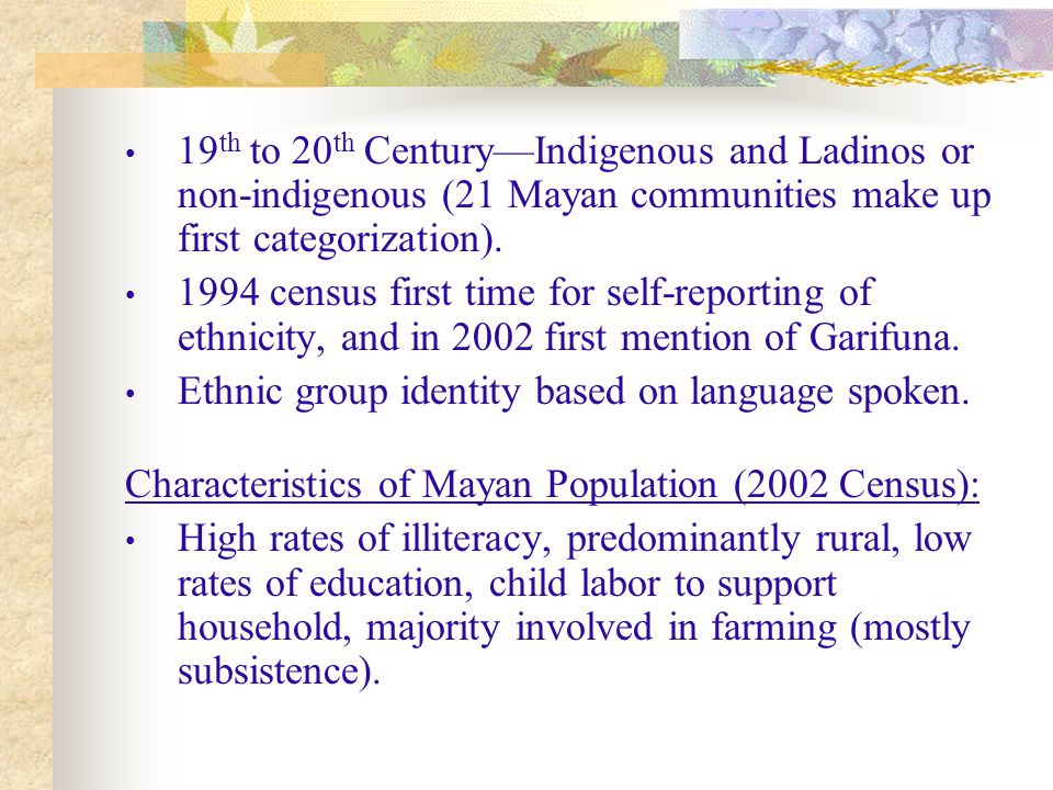 19 th to 20 th Century—Indigenous and Ladinos or non-indigenous (21 Mayan communities make up first categorization).