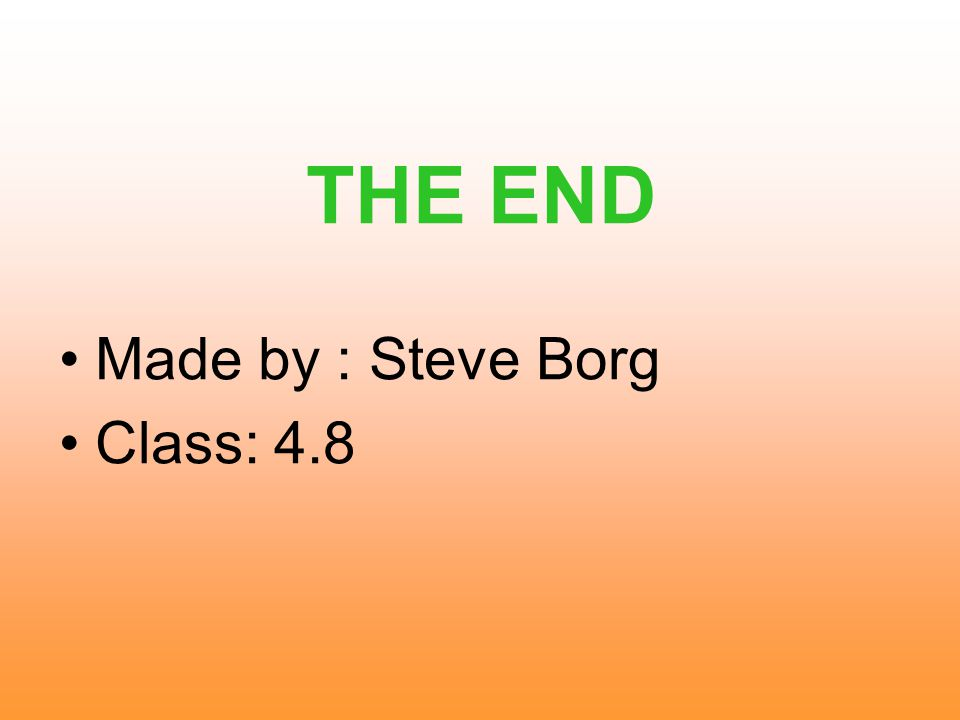 THE END Made by : Steve Borg Class: 4.8