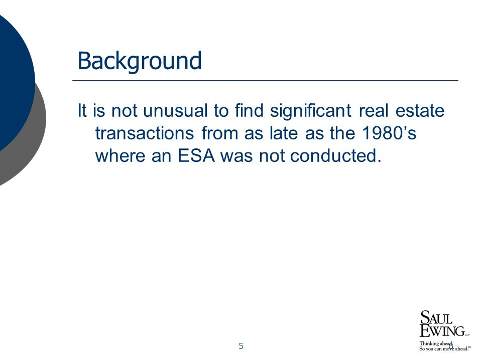 67 Background Early on, many different kinds of professionals - engineers, geologists, even lawyers – carried out ESAs.