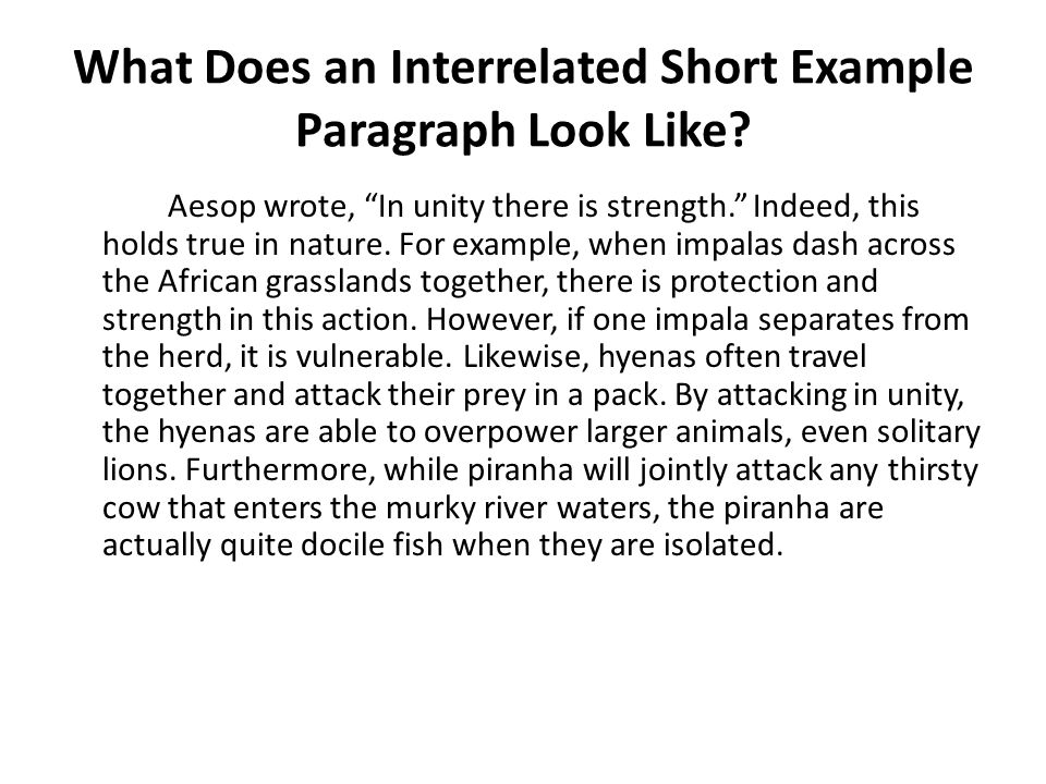 What Does an Interrelated Short Example Paragraph Look Like.