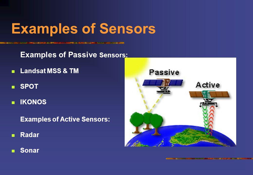 Examples of Sensors Examples of Passive Sensors: Landsat MSS & TM SPOT IKONOS Examples of Active Sensors: Radar Sonar
