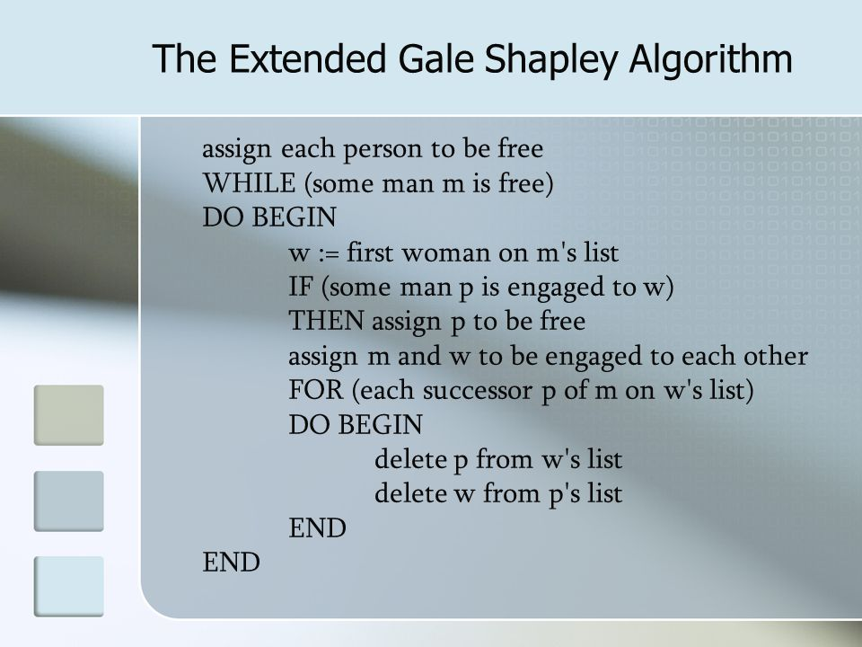 assign each person to be free WHILE (some man m is free) DO BEGIN w := first woman on m s list IF (some man p is engaged to w) THEN assign p to be free assign m and w to be engaged to each other FOR (each successor p of m on w s list) DO BEGIN delete p from w s list delete w from p s list END The Extended Gale Shapley Algorithm